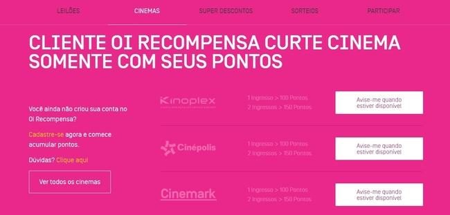 Oi recompensa cinema